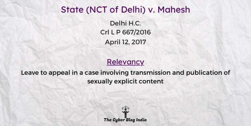 State (NCT of Delhi) v. Mahesh