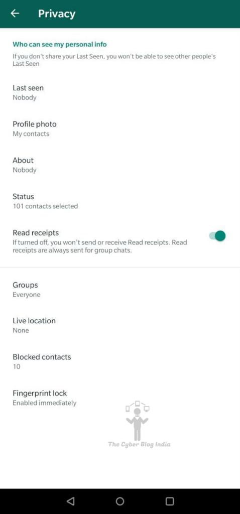 Privacy Settings on WhatsApp