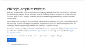 YouTube Privacy Complaint Process