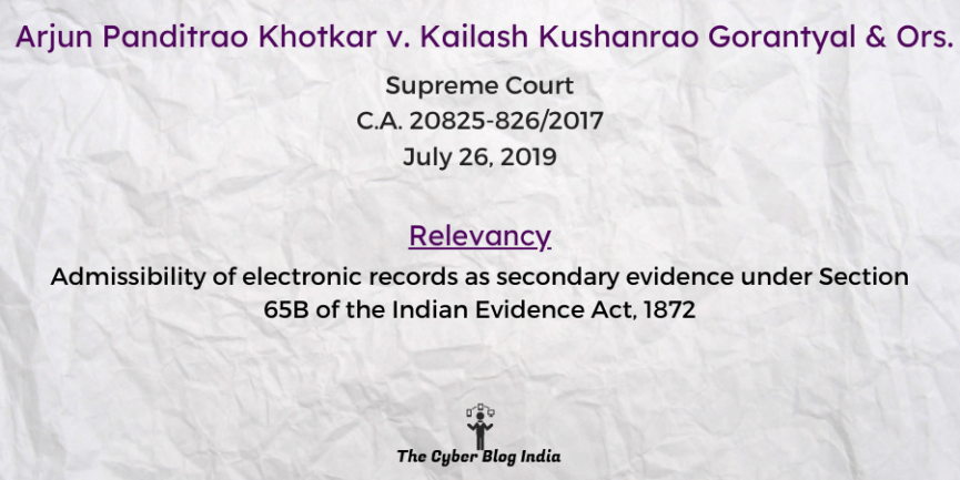 Arjun Panditrao Khotkar v. Kailash Kushanrao Gorantyal & Ors.