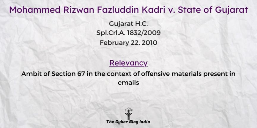 Mohammed Rizwan Fazluddin Kadri v. State of Gujarat