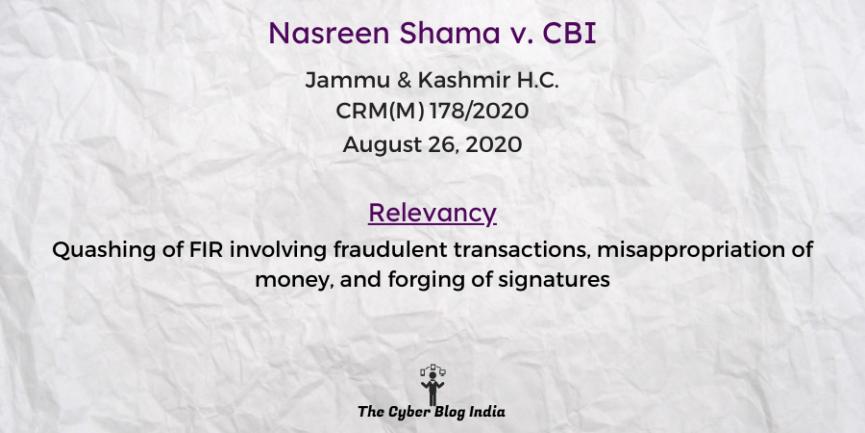 Nasreen Shama v. CBI