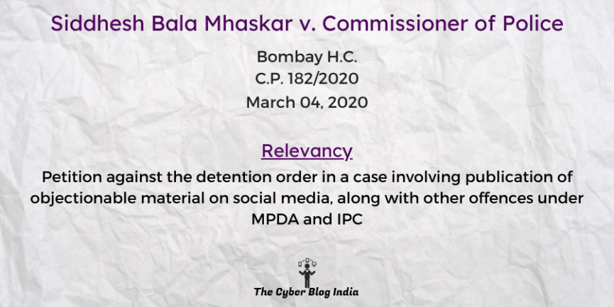 Siddhesh Bala Mhaskar v. Commissioner of Police
