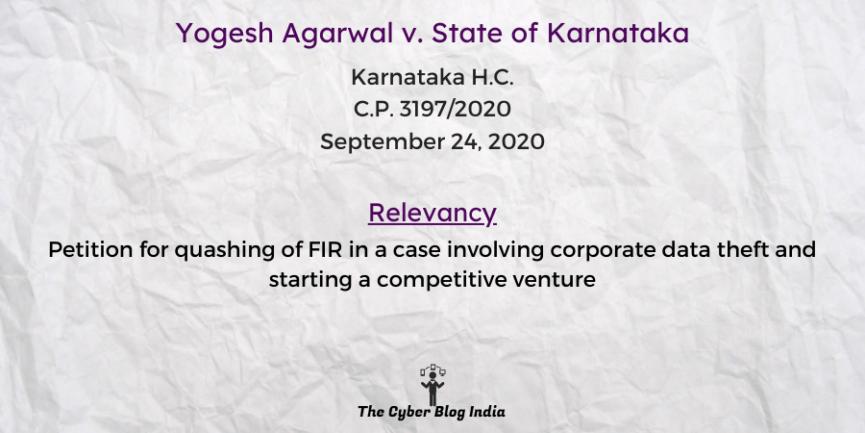 Yogesh Agarwal v. State of Karnataka