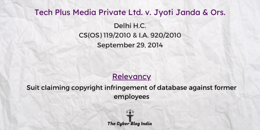 Suit claiming copyright infringement of database against former employees