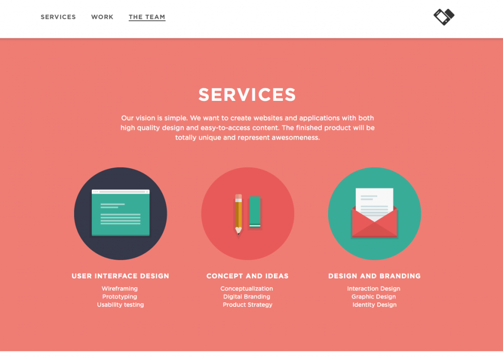 Applove uses 3 columns, icons, and lists to make their services content digestible.