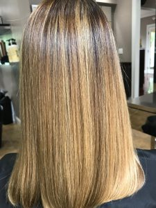 smoothing treatment at the salon after