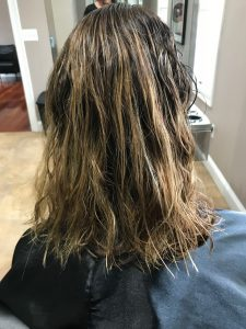 smoothing treatment at the salon before