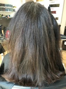 smoothing treatment at the salon before brunette