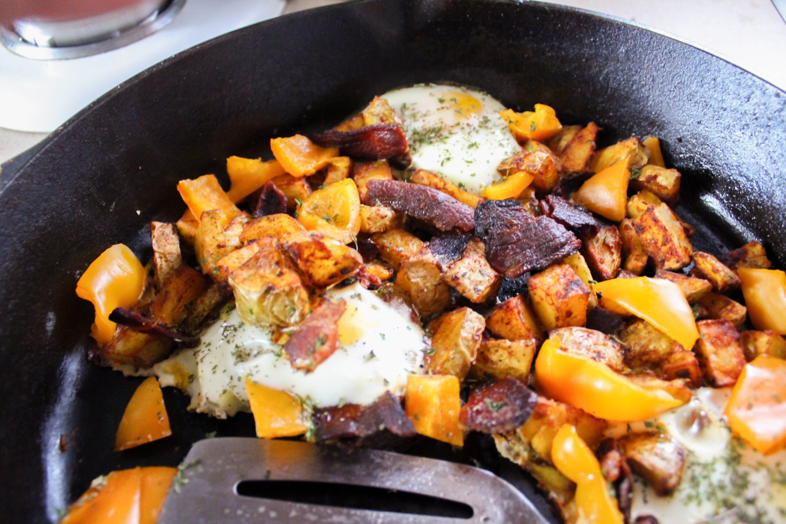 Sometimes you just need a hearty breakfast! My Simple Breakfast Skillet fits the bill! It's a Trim Healthy Mama Crossover and dairy-free