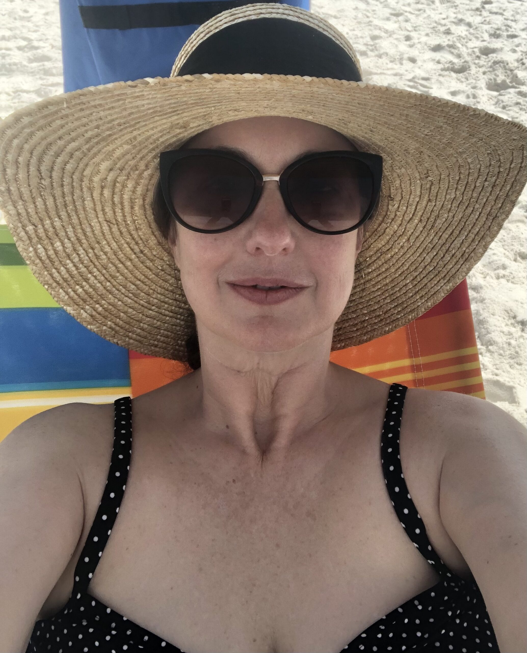 Women on a sandy beach wearing sunglasses and hat