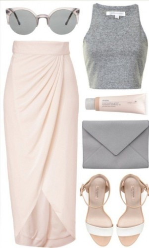 blush and grey look