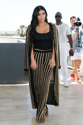 kim wearing stripes