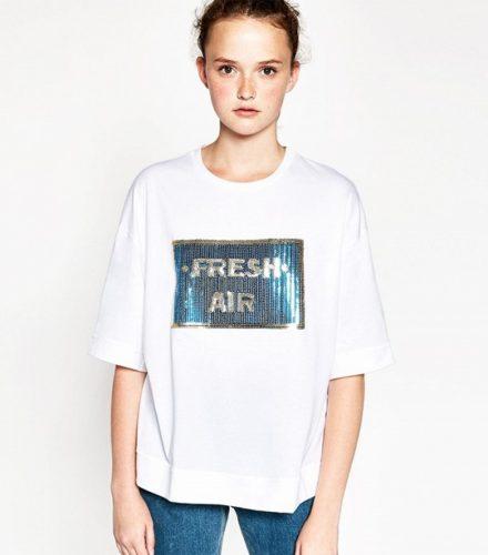 oversized zara sequinned t shirt