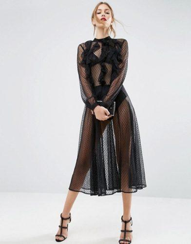 dobby-mesh-ruffle-skater-dress