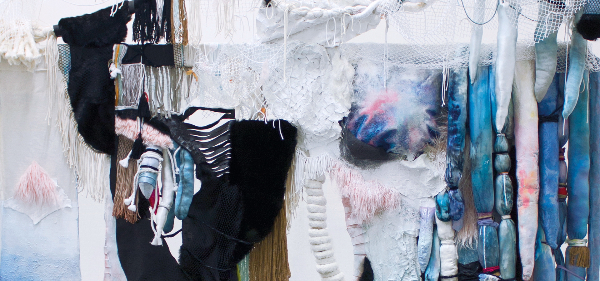 Mixed textile installation with many textures