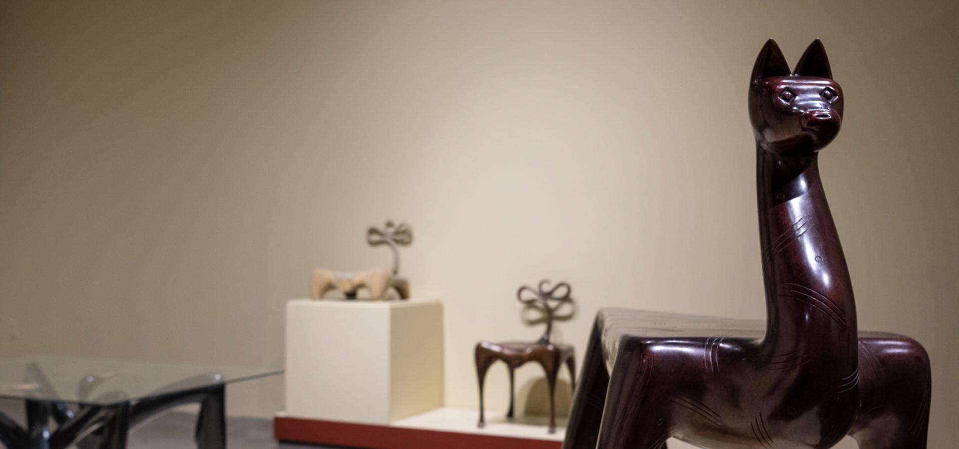 Sculptures in cast bronze and wood