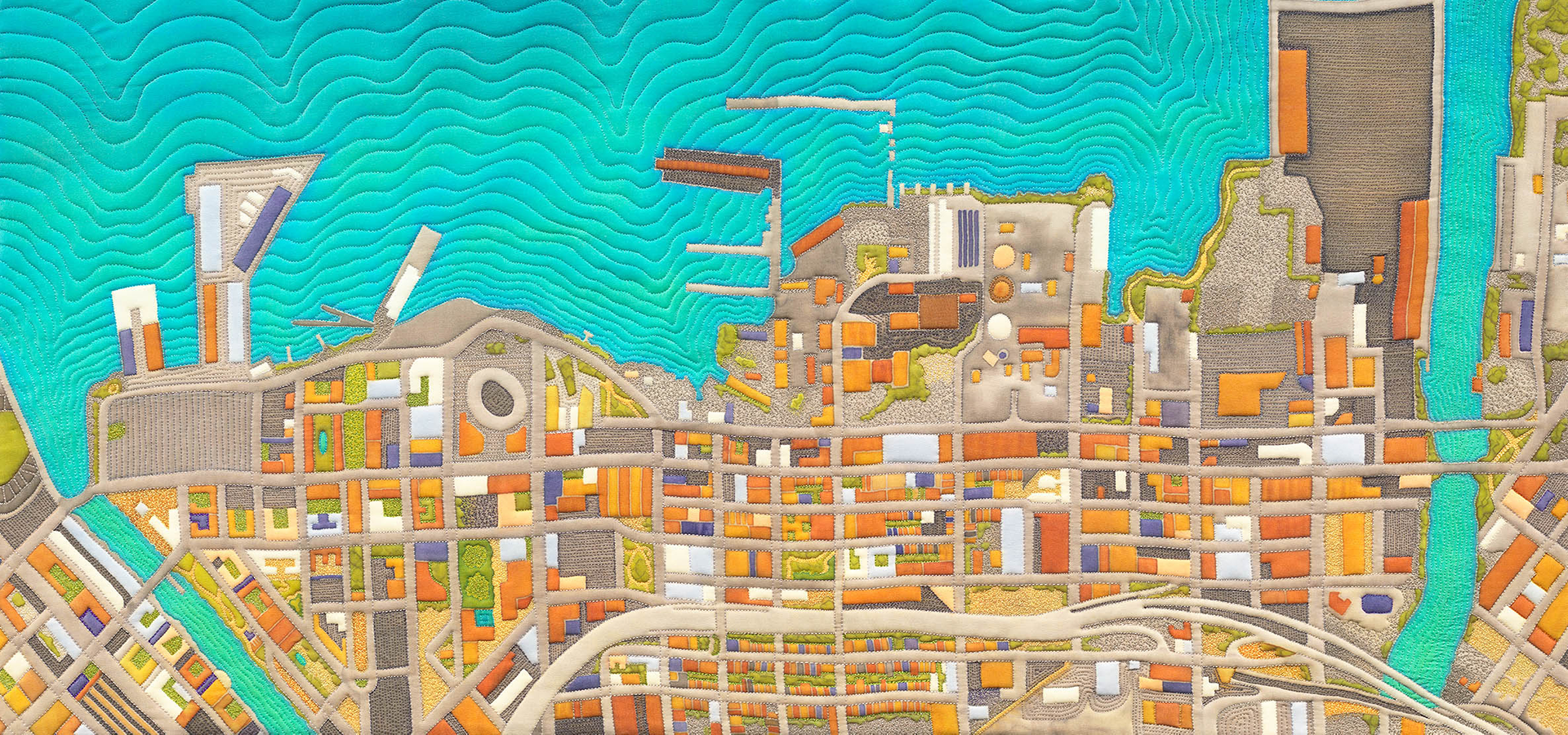 Embroidered, quilted map of San Francisco's Dogpatch neighborhood