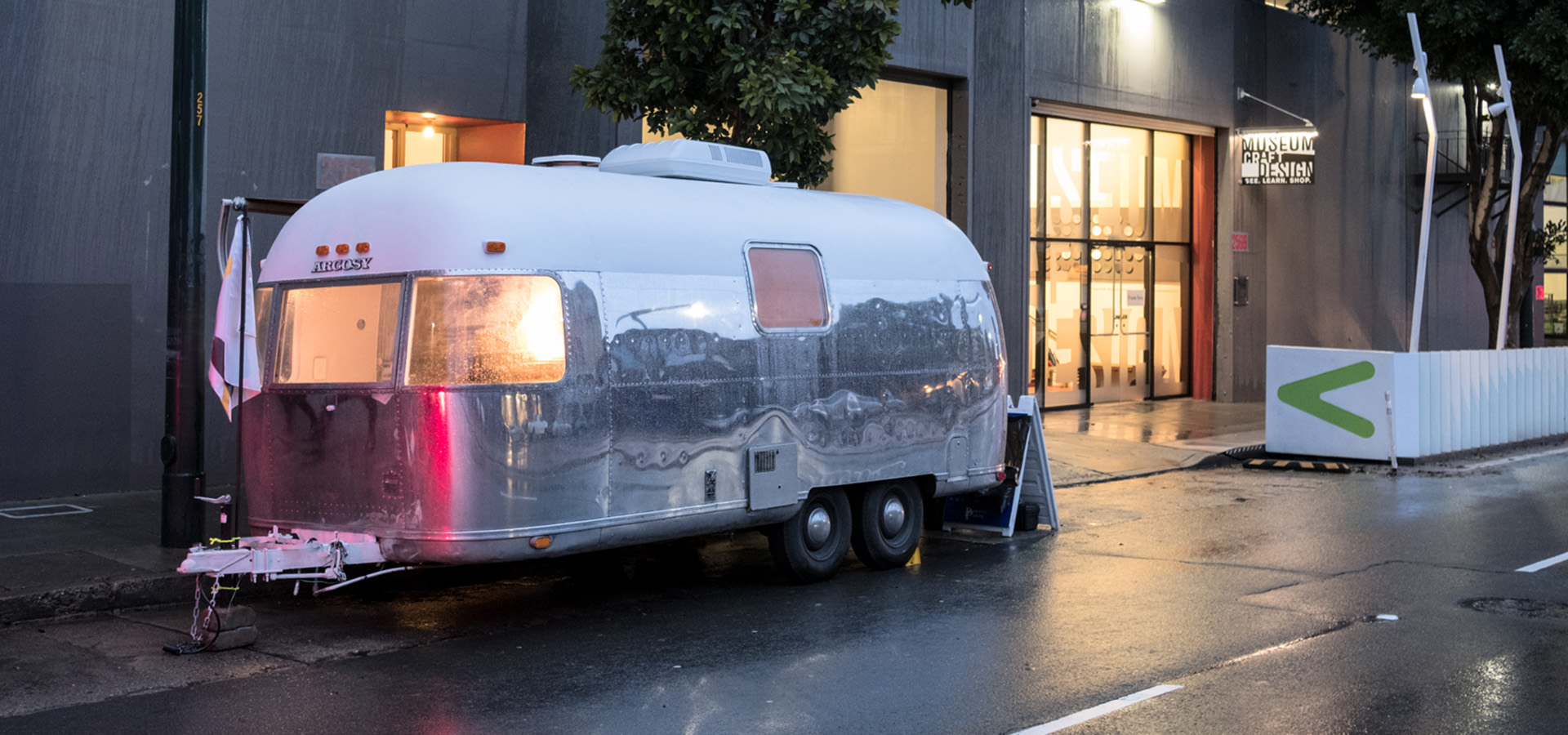 Airstream parked on street in front of the Museum of Craft and Design