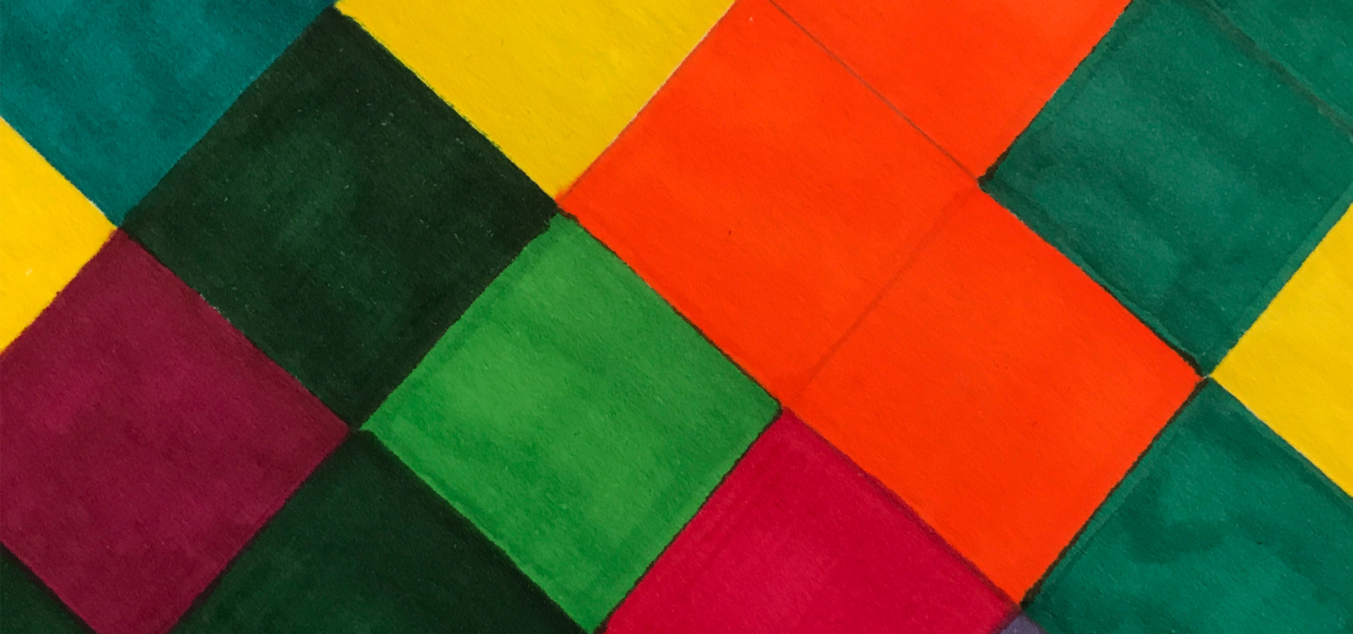 A patchwork of different colored squares