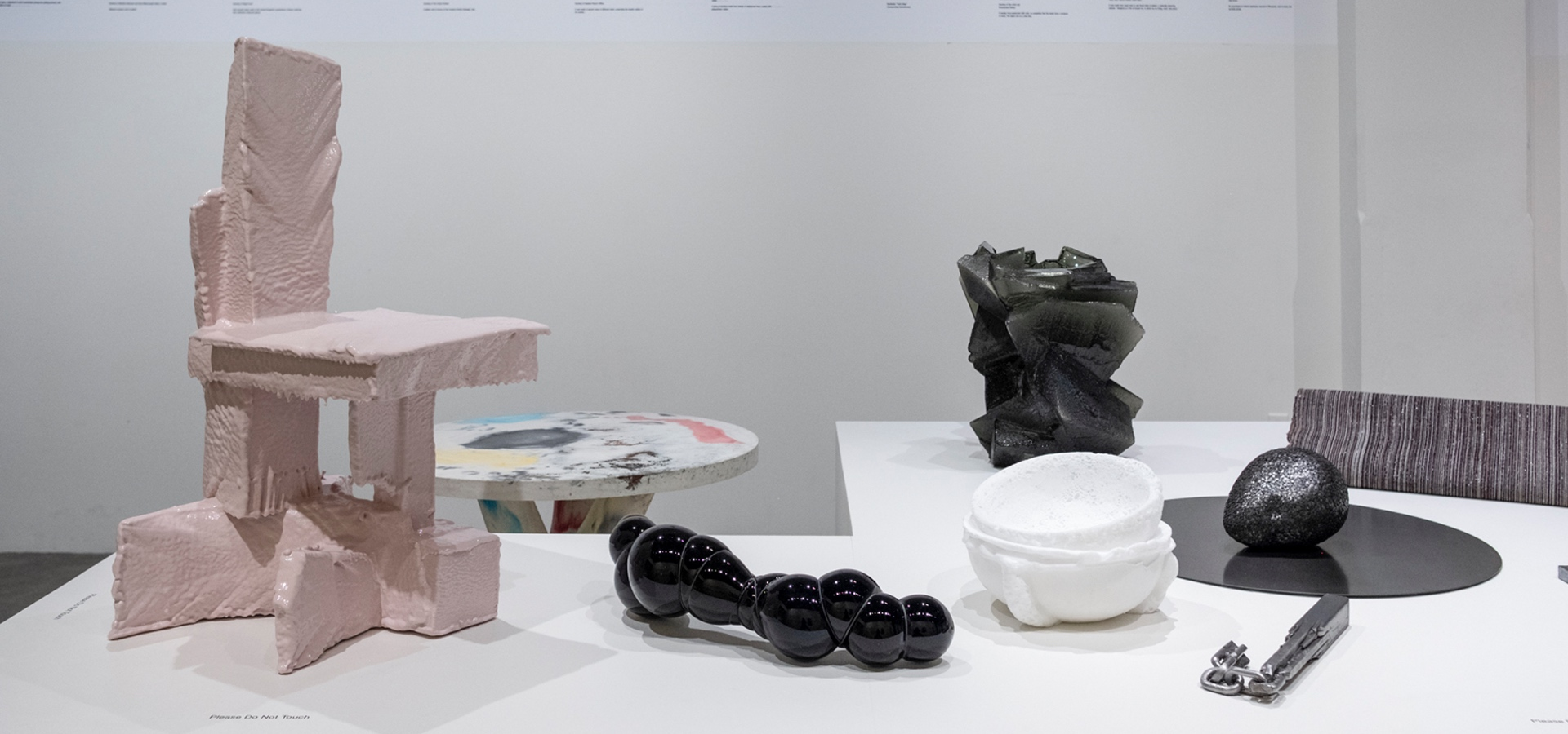 Sculptures created with different material in museum exhibition