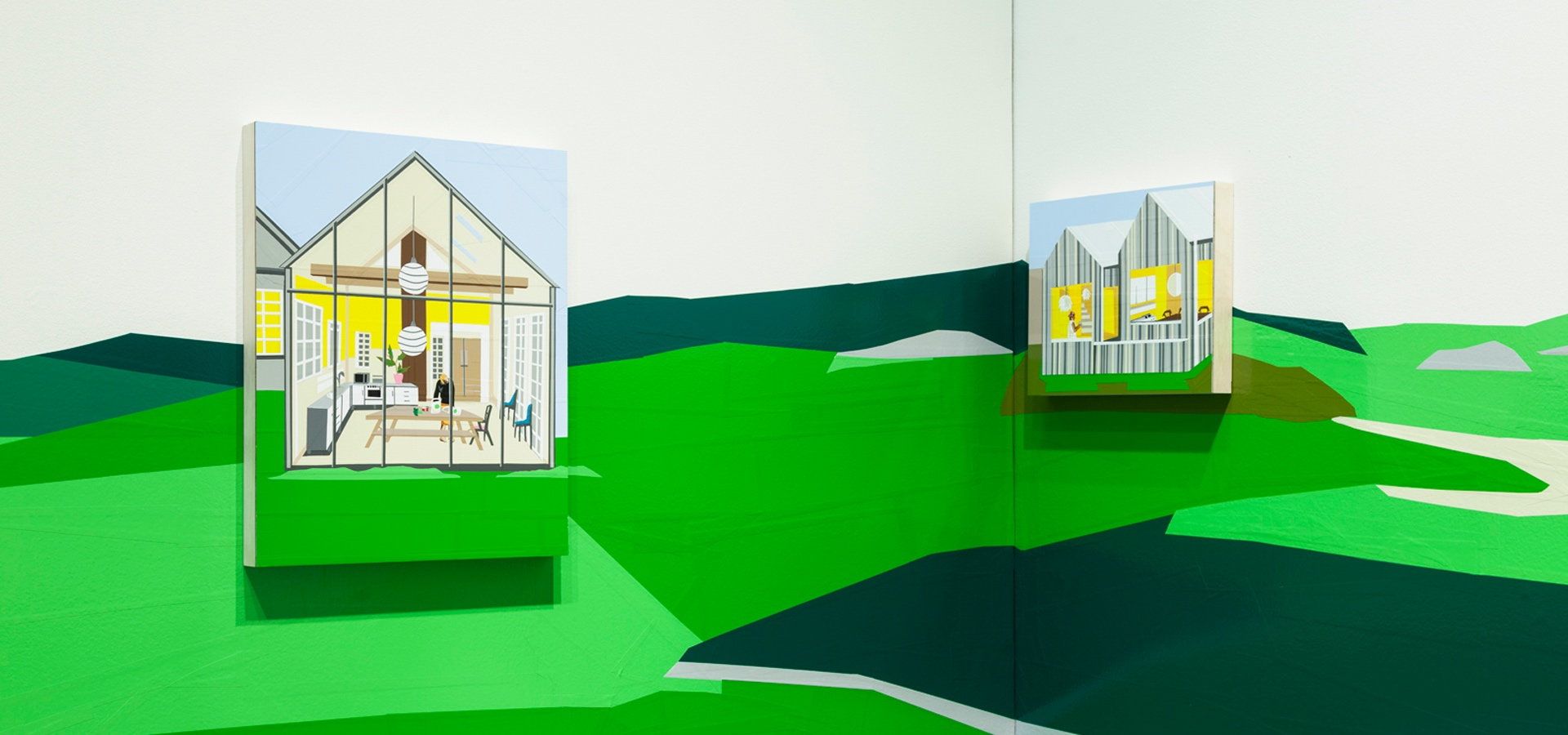 scenes looking into windows of home made from cut vinyl