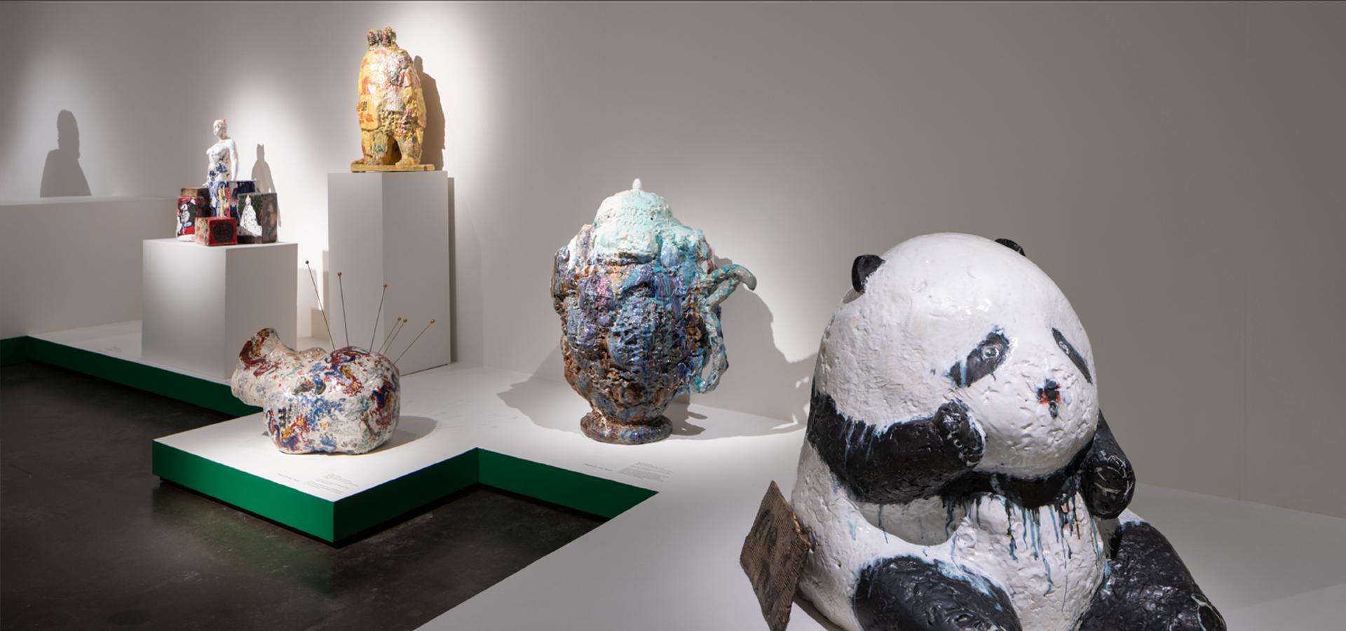 Ceramic sculptures by Wanxin Zhang in Museum of Craft of Design galleries
