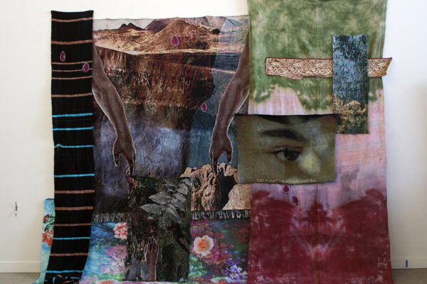 Multicolor assemblages of hand-dyed fabric.