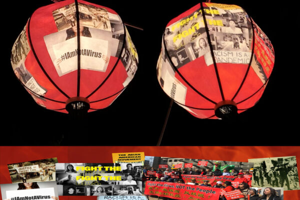 Red lit lanterns with photos