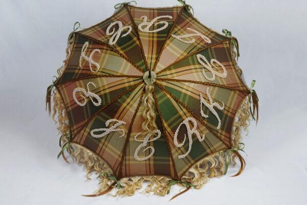 parasol, fabric, glass pearl beads, human hair