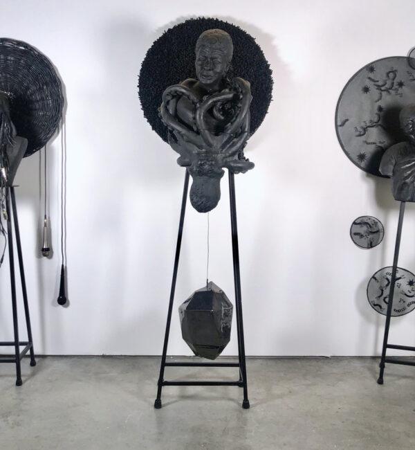 Tara Daly, Saints for the Anthropocene, 2019, ceramic, steel, cable, vinyl. Photo courtesy of the artist