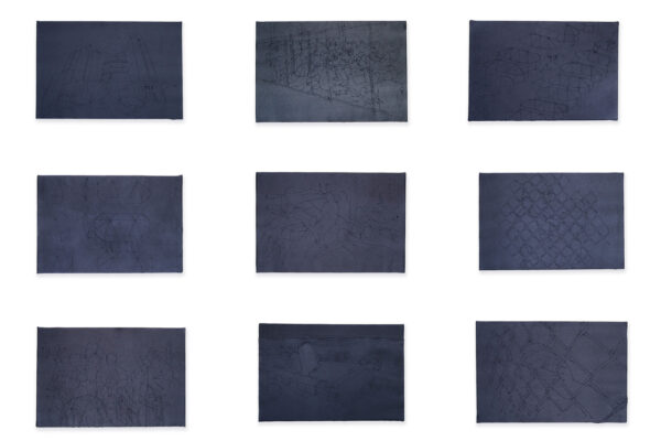 A series of drawings made with stitched thread lines on dark cloth.