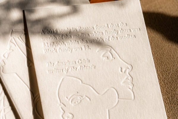 Shavon Morris, America's Honest Identity, 2020, letterpress, relief printing, social practice Photo Courtesy of Crystal Golden, Denver