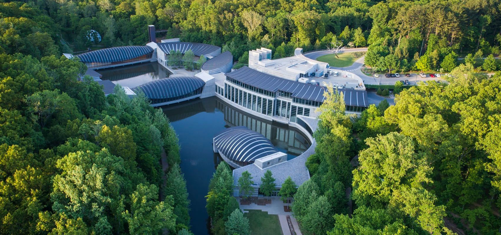 View of Crystal Bridges and surrounding trees from above