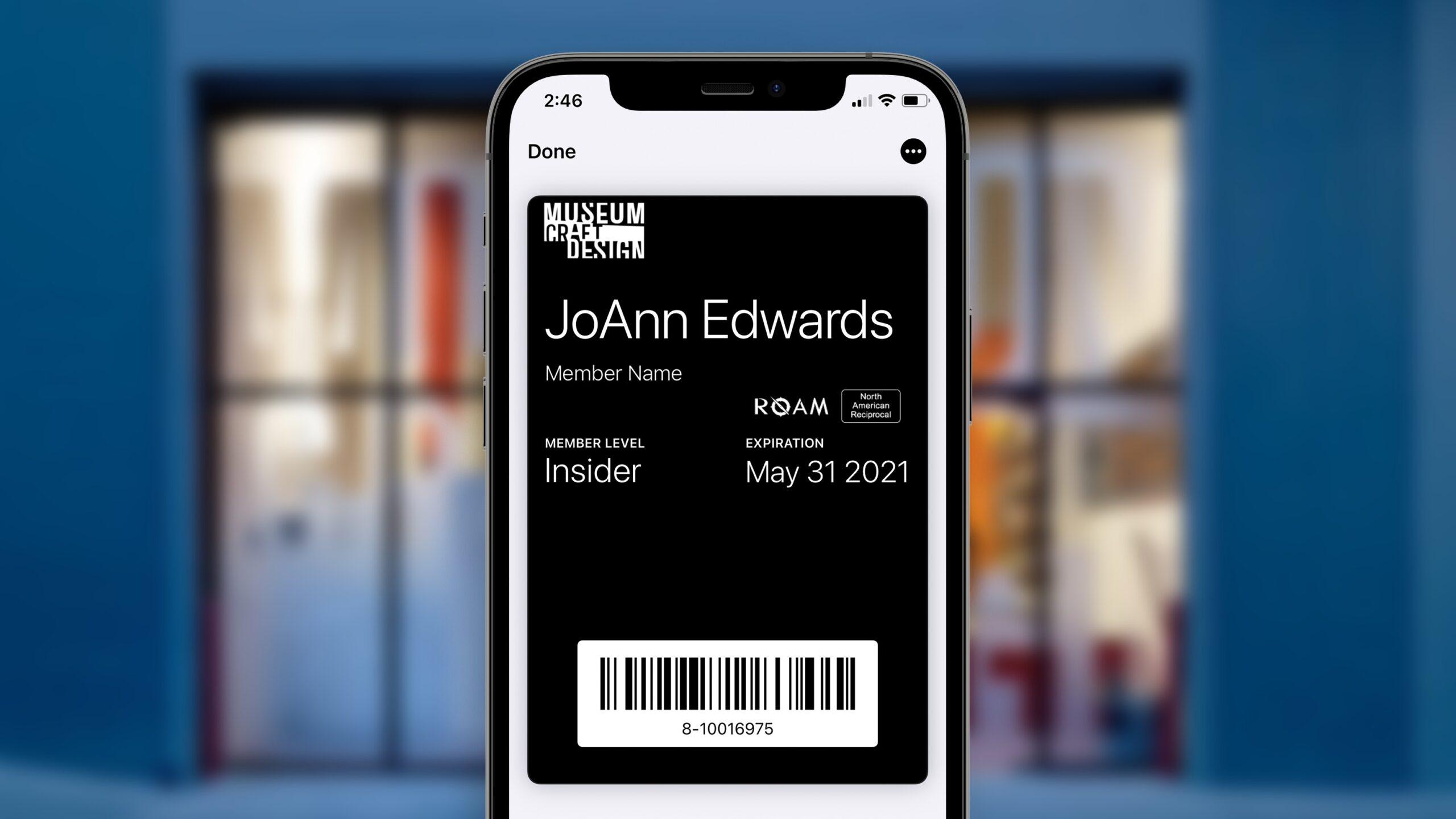 iphone image of digital member card