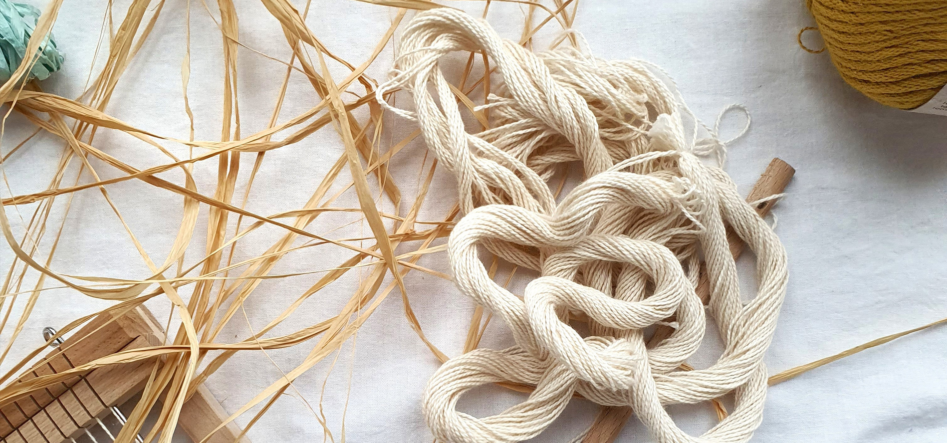 Loom and a jumble of yarn