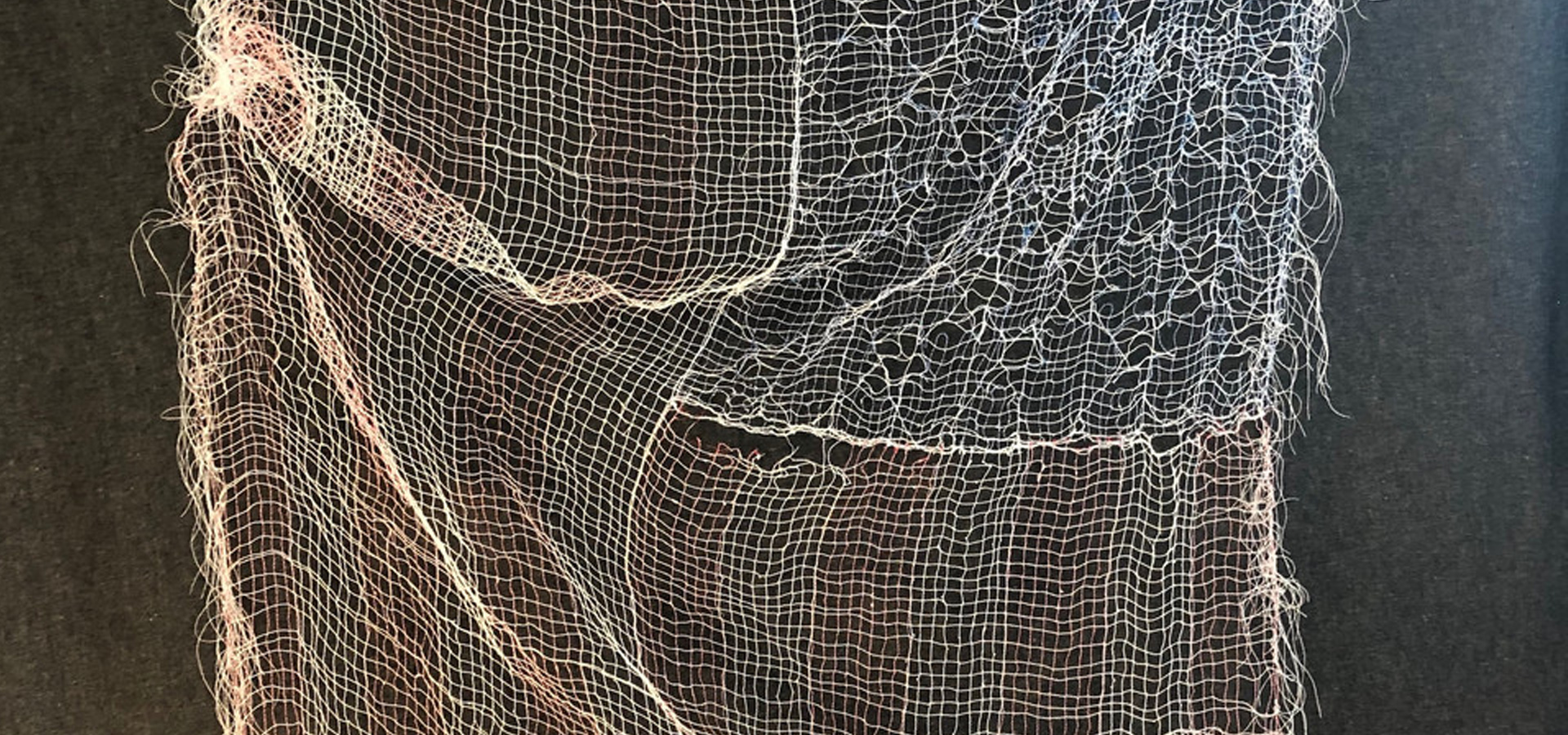thread sewn on soluble substrate; dissolved
