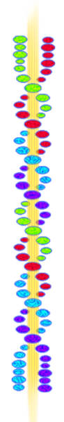 DNA strands winding around beam of divine light