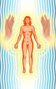 Healing hands sweeping through the physical body to integrate all the parts of the body.