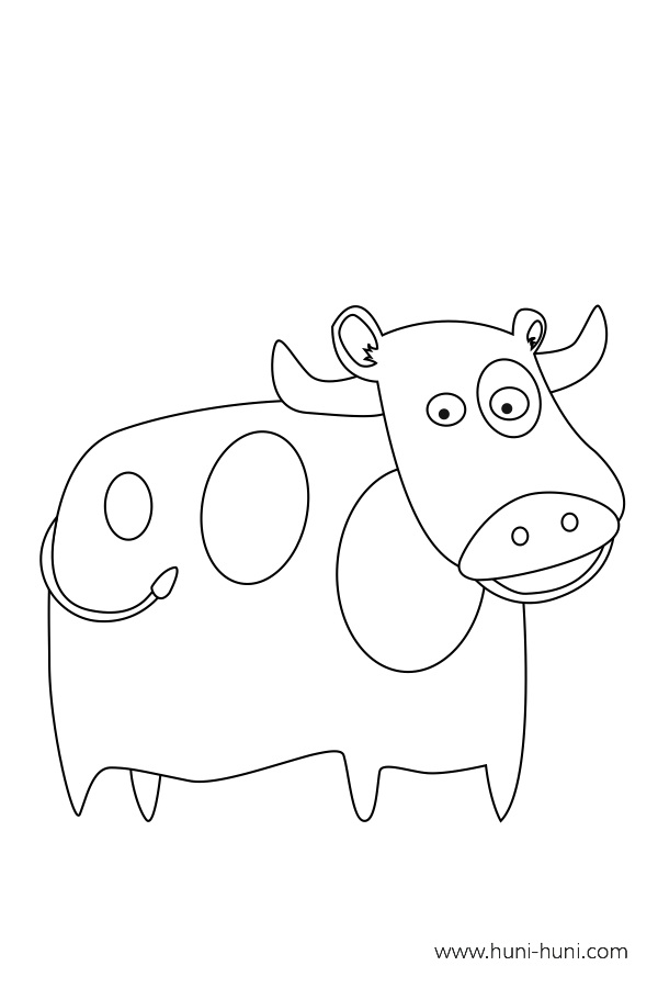 flashcard-coloring-page-outline-animal-cow-baka