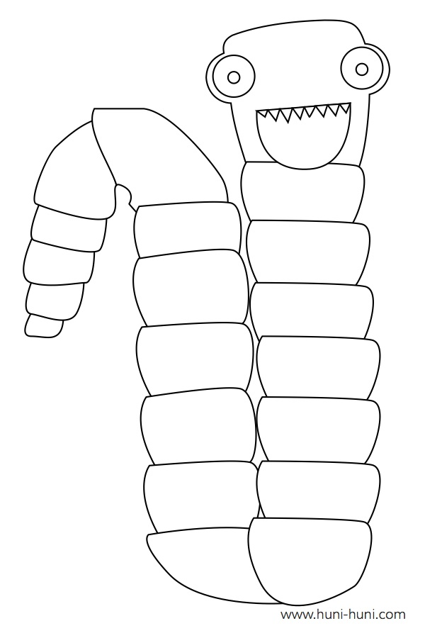 flashcard-coloring-page-outline-animal-tapeworm-bitok