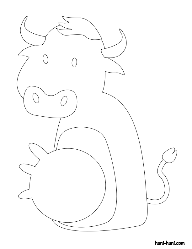huni-huni-flashcard-coloring-page-outline-baka-cow-fingerpuppet
