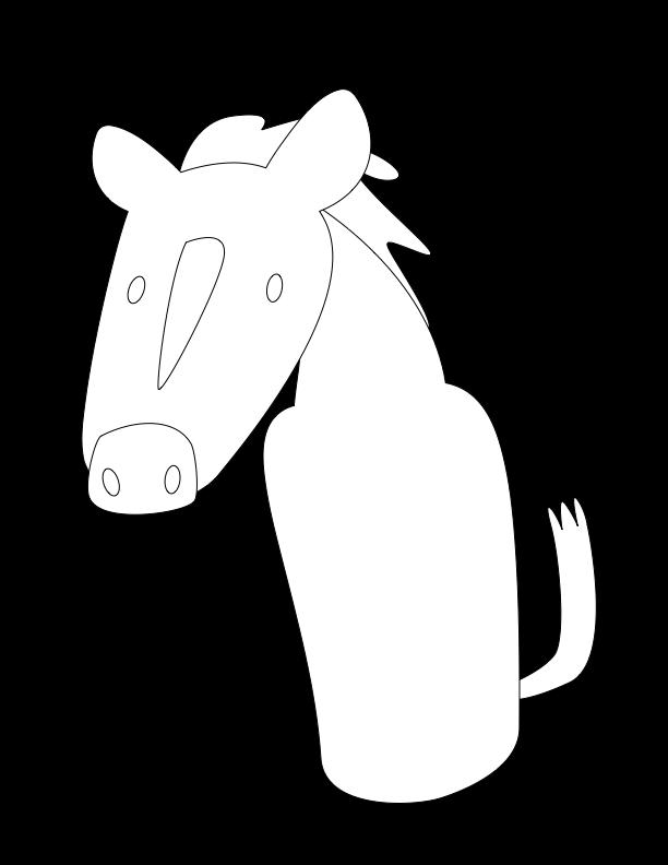 huni-huni-flashcard-coloring-page-outline-kabayo-horse-fingerpuppet