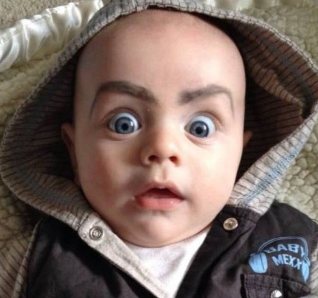 Who would have known that drawing eyebrows on babies would be THIS HILARIOUS!