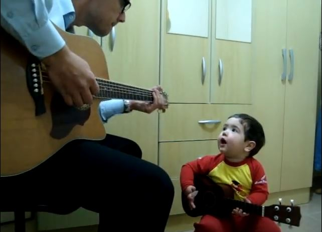 """Heart Melting Two-Year-Old Belts """"Don't Let Me Down"""" With His Dad"""