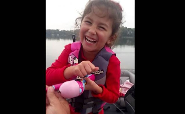 ADORABLE Little Girl Catches Huge Bass Using Only Her Barbie Fishing Pole