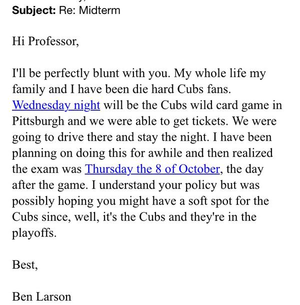 Professor Gives Epic Response To Student Who Asks To Miss Class For A Baseball Game