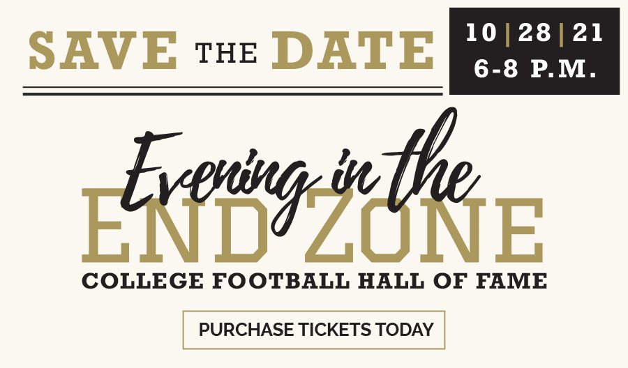 Save the Date graphic with Evening at the End Zone logo