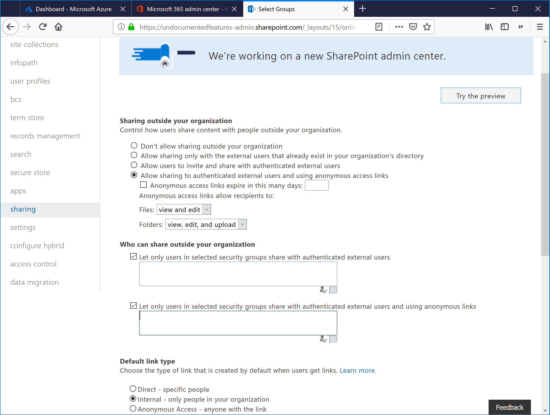 SharePoint Online and OneDrive for Business Custom Sharing Controls