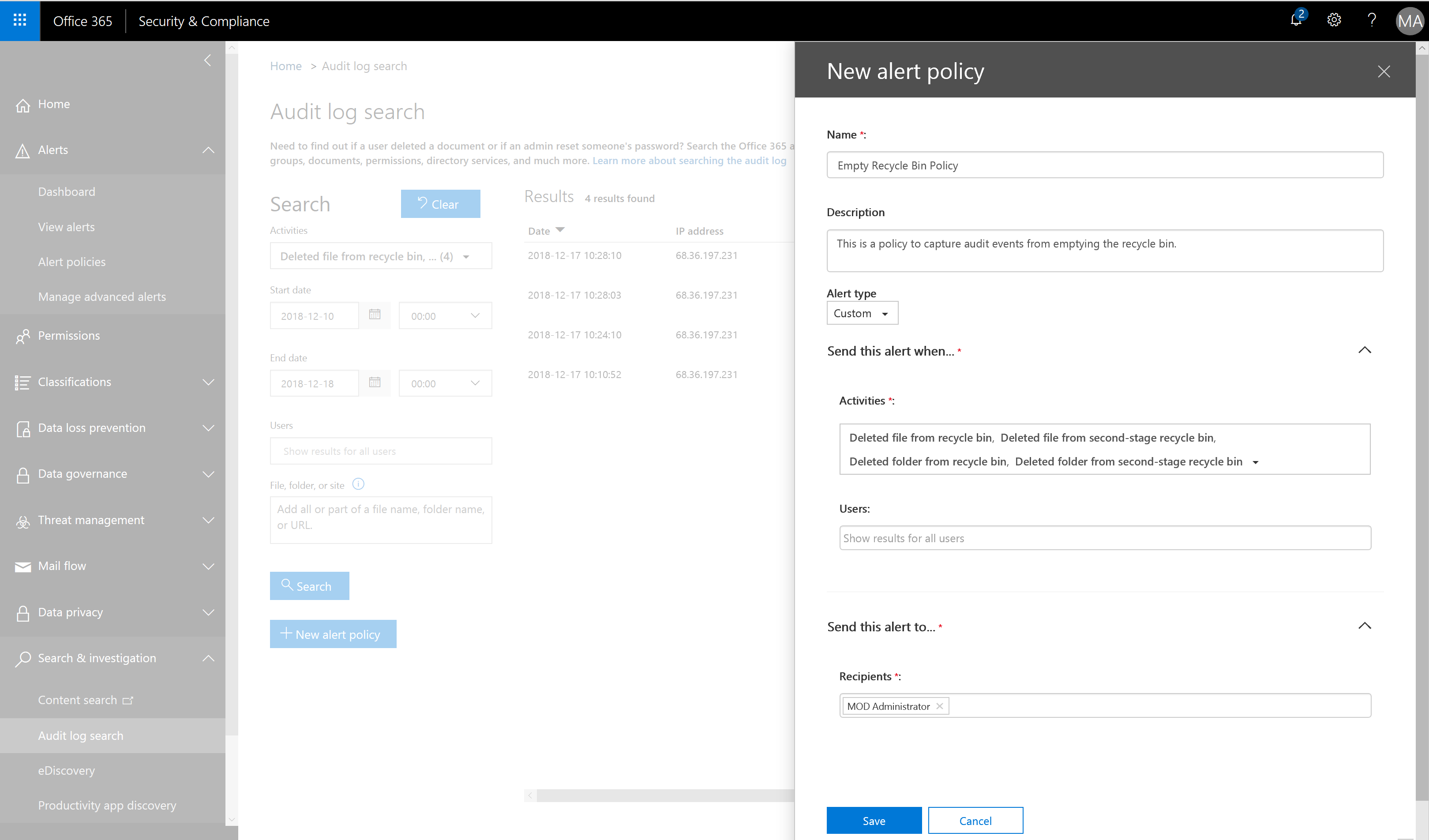 Alerting on OneDrive Deleted Item Activity